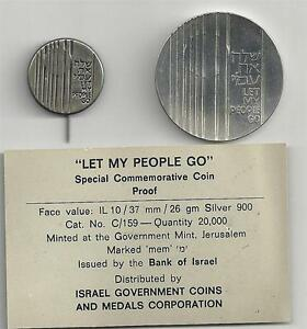 ISRAEL-1971-034-LET-MY-PEOPLE-GO-034-PROOF-SILVER-COIN-26g-ORIGINAL-CASE-PIN-amp-COA