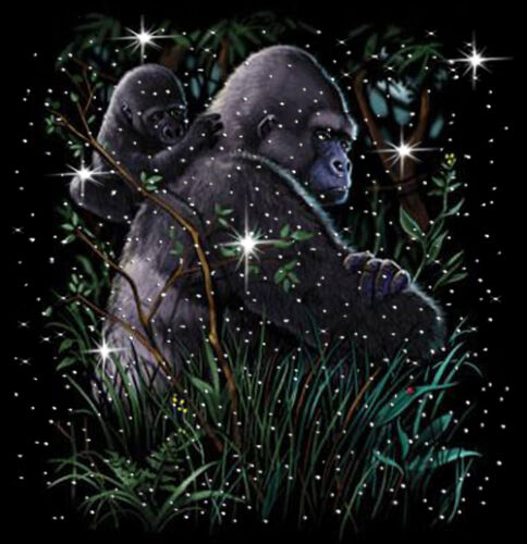 Gorillas in the Mist T-Shirt PLUS SIZE or SUPERSIZE T676F Rhinestone