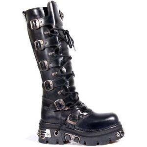 New Rock 272-S1 Metallic Black Goth Knee High Zip Boot Leather Buckle Boots