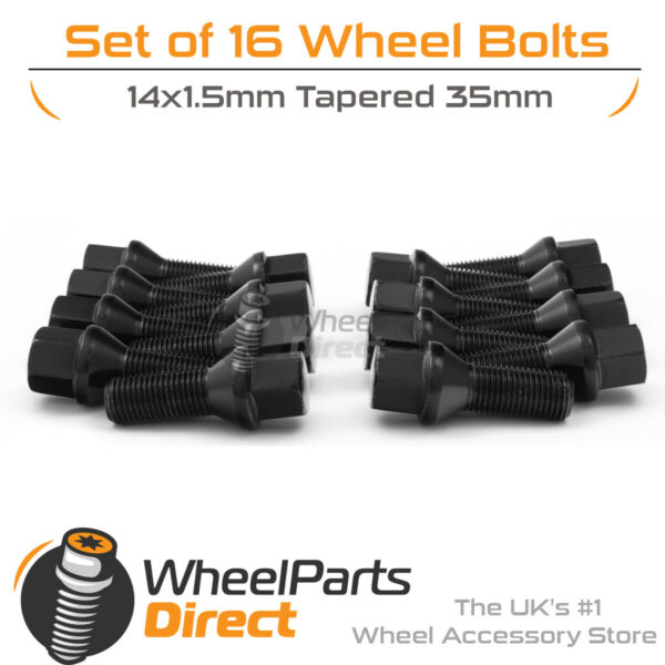 100% Kwaliteit Black Alloy Wheel Bolts (16) 14x1.5 Tapered 35mm For Audi Q5 [8r] 08-17