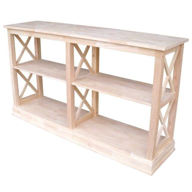 Console Table 60 In W Rectangle Unfinished Wood Frame X Design With 2 Shelves
