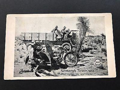 Kavanaugh's War Postals, ARMORED TRUCK & MOTORCYCLE, Mexico Border 1916 Postcard