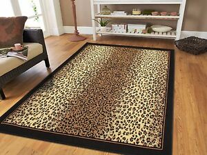 Jungle Cheetah Rug 8x11 Black Brown Beige Animal Carpet