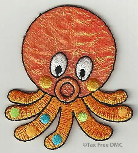VAT Free Sewing Iron On Motif Patch Craft Factory Orange Octopus 5cm x 6cm New