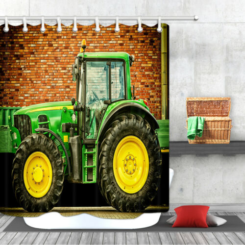 Farm Tractor Bath Shower Curtains Waterproof Accessories for Bathroom 12Hooks