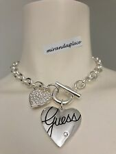 NWT GUESS Silver-Tone Heart Logo Crystal Toggle Necklace