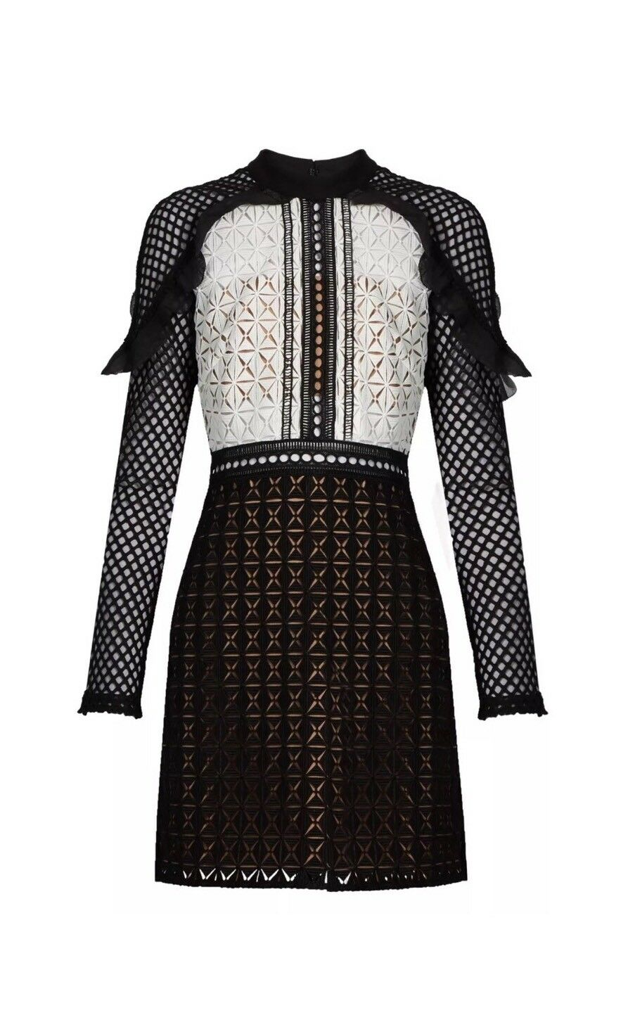 SELF-PORTRAIT Geometric Monochrome Lace Mini Dress Size 4