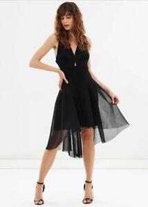 Elliatt Jewel Black Fit Flare Mesh High Low Cocktail Dress Sz Xs