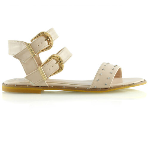 Studded Ankle Summer Ladies Flat Shoes Sandals Gladiator Strap Holiday Womens qE0dwAA