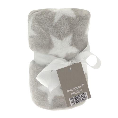 Baby buggy pram cot plush star design flannel blanket Elli /& Raff 70x90cm
