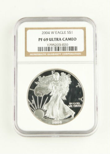 2004 W PROOF AMERICAN EAGLE 1 Oz SILVER FLAWLESS NGC PF 69 ULTRA CAMEO COIN