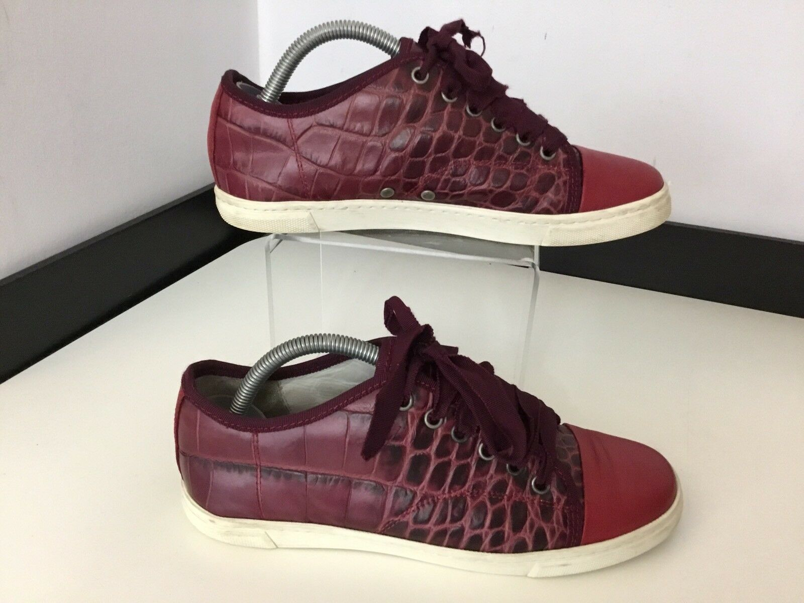 Lanvin Ladies Sneakers, Eu37, Maroon, Red, Alligator Leather, Trainers, Vgc