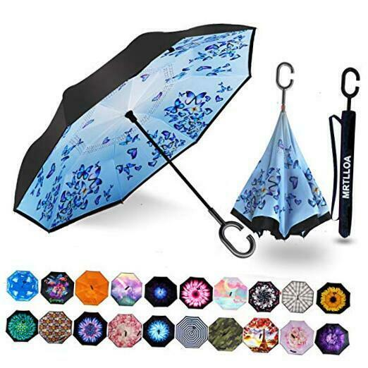 Double Layer Inverted Umbrella with C-Shaped Handle, Anti-UV N-Art Butterfly
