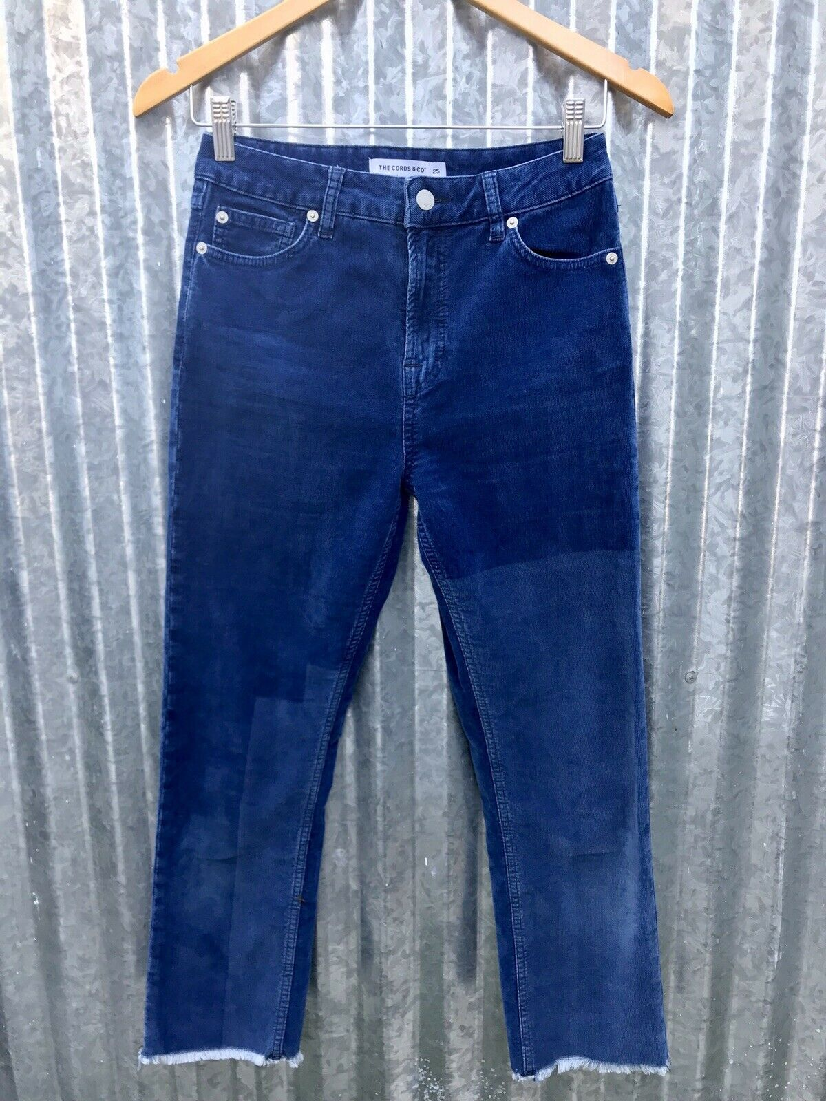 """Anthropologie  160 Cords & Co Mom Skinny Cropped Corduroy Indigo Patch Pants 25"""""""