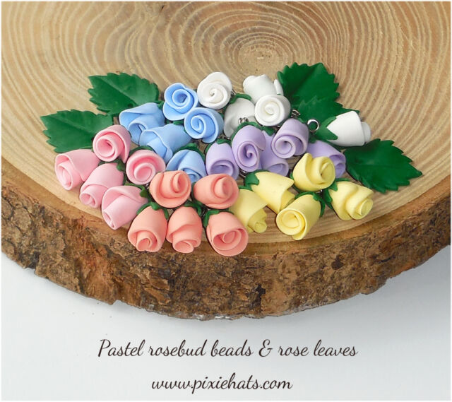 Rosebud beads handmade flower charms pastel bright colours Wedding Handfasting