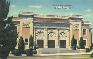 Linen-Postcard-B789-Scottish-Rite-Cathedral-El-Paso-Texas-1954-Cancel-TX