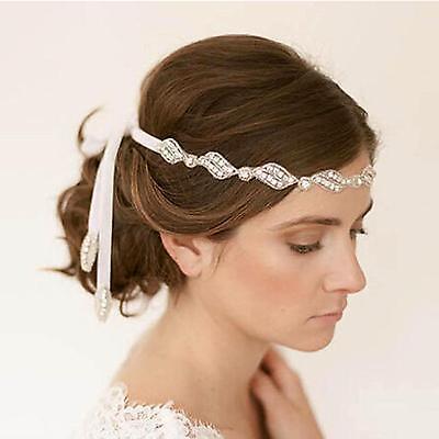 Wedding Party Bride Tiara Satin Band Crystal Beaded Ribbon Headband Hairband New