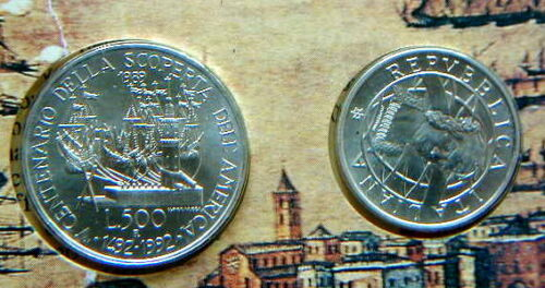 1989 Italy 200£//500£  RARE TWO silver coins COLUMBUS UNC//BU in official folder