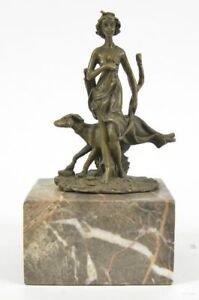Signed-Pure-Bronze-Diana-Artemis-the-Hunter-w-Dog-Sculpture-Statue-Marble-Base