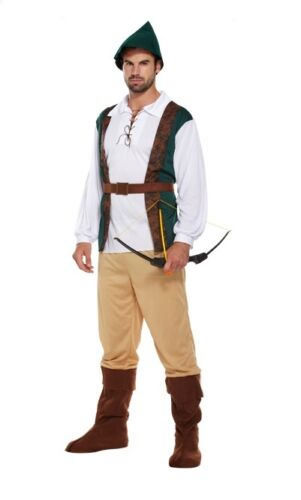 Adult Hunter Fancy Dress Robin Hood Medieval Costume Peter Pan Marion Outfit