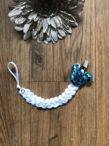 Stunning Baby Girl Boy Dummy Clip Chain Holder with Blue Mouse Sequin Clip