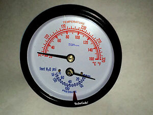 "Tridicator BOILER Gauge 1.75"" long / 1/4"" NPT/ 6 hour shipping!"