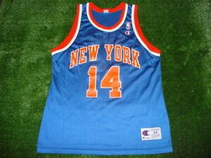 super popular e4f78 b0e71 Details about Vintage New York NY Knicks Anthony Mason Champion Jersey Blue  SUPER RARE 44