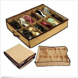 New-12-Pairs-Under-Bed-Organizer-Shoes-Storage-Holder-Container-Closet-Box-Bag