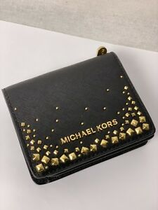 c19cd340d720 MICHAEL KORS GIFTABLES FLAP CARD HOLDER CASE SMALL WALLET BLACK GOLD ...