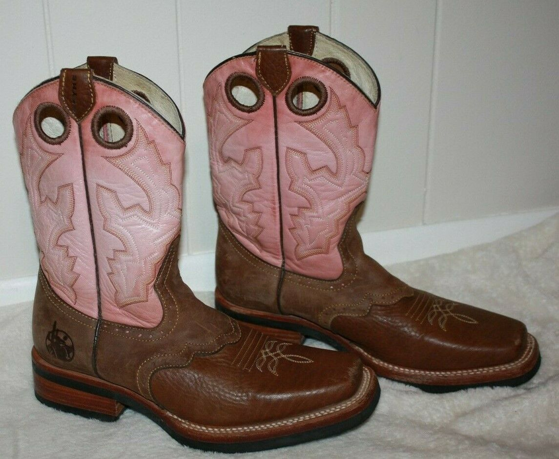 "REYME 11"" Ladies Brown & Pink Cowboy Boots Size 9 - image 4"