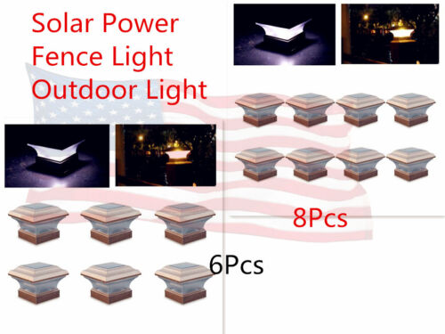 Solar Power Copper Outdoor Lighting LED Walkway Lights Landscape Fence Lights