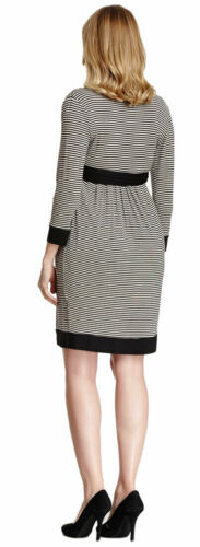 OLIAN Maternity Women/'s Black Ivory Stripes Faux Wrap Dress $130 NWT
