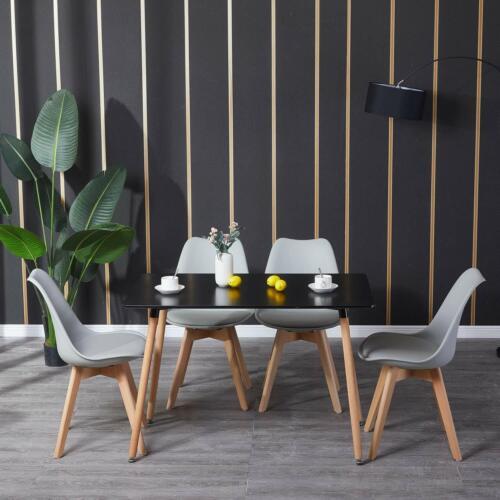 Rechteckig Esstisch Esszimmertisch Küchentisch mit 4 Stühlen Retro Esszimmerstüh