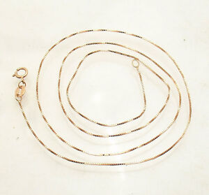 """20/"""" 14K Rose Gold 0.6mm Polished Classic Box Chain Spring Clasp"""