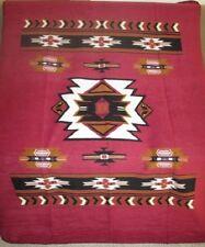 New Burgundy 50x60 Southwest Aztec Fleece Throw Gift Blanket Warm Red Native NIP