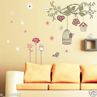 Removable Branch Bird Spring Cage Home Art Decor Wall Stickers Living Room Decal