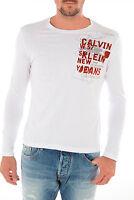 Calvin Klein T-Shirt Shirt GRÖßE L WEISS NEU G LANGARM Star Polo white CK ONE 48