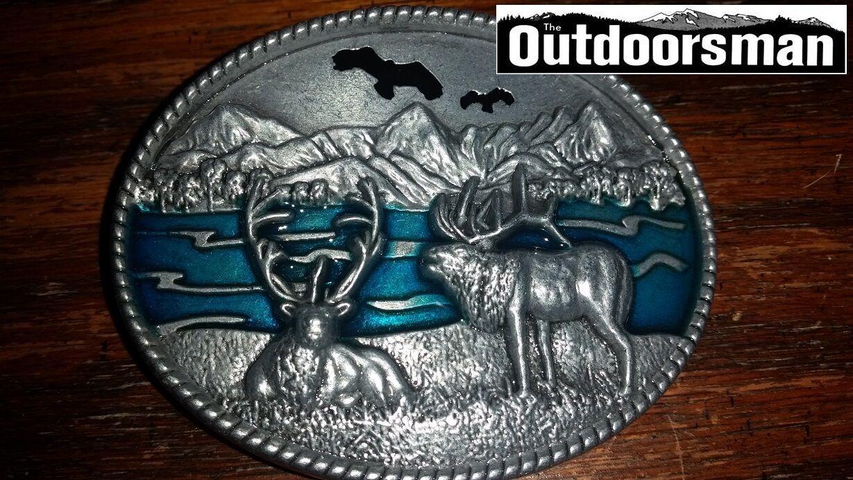 Deer By Lake Eagle Above Belt Buckle Embossed Metal Pewter turquoise color