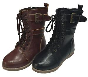 toddler combat lace up boots w zipper brown and
