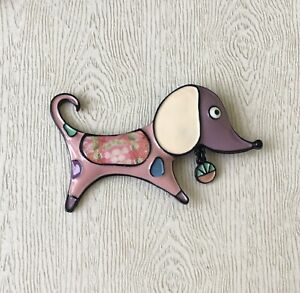 Adorable-artistic-Dog-large-Brooch-Pin-in-enamel-on-Metal