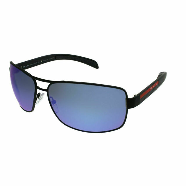 Prada Linea Rossa PS 54IS DG02E0 Black Rubber Sunglasses Blue Mirror  Polarized bbaedaa64731c