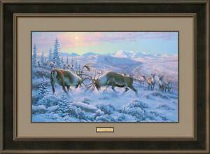 Battling Caribou Framed Limited Edition Print by Michael Sieve