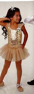 NWT Tap Jazz Dance Pageant Costume Girls Sizes Gold Silver Sequin Front Accessr