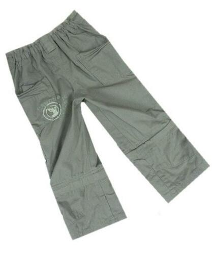 New Ex Mini Mode Khaki Zip Off Leg Cotton Twill Cargo Trousers Pants 6-24mths