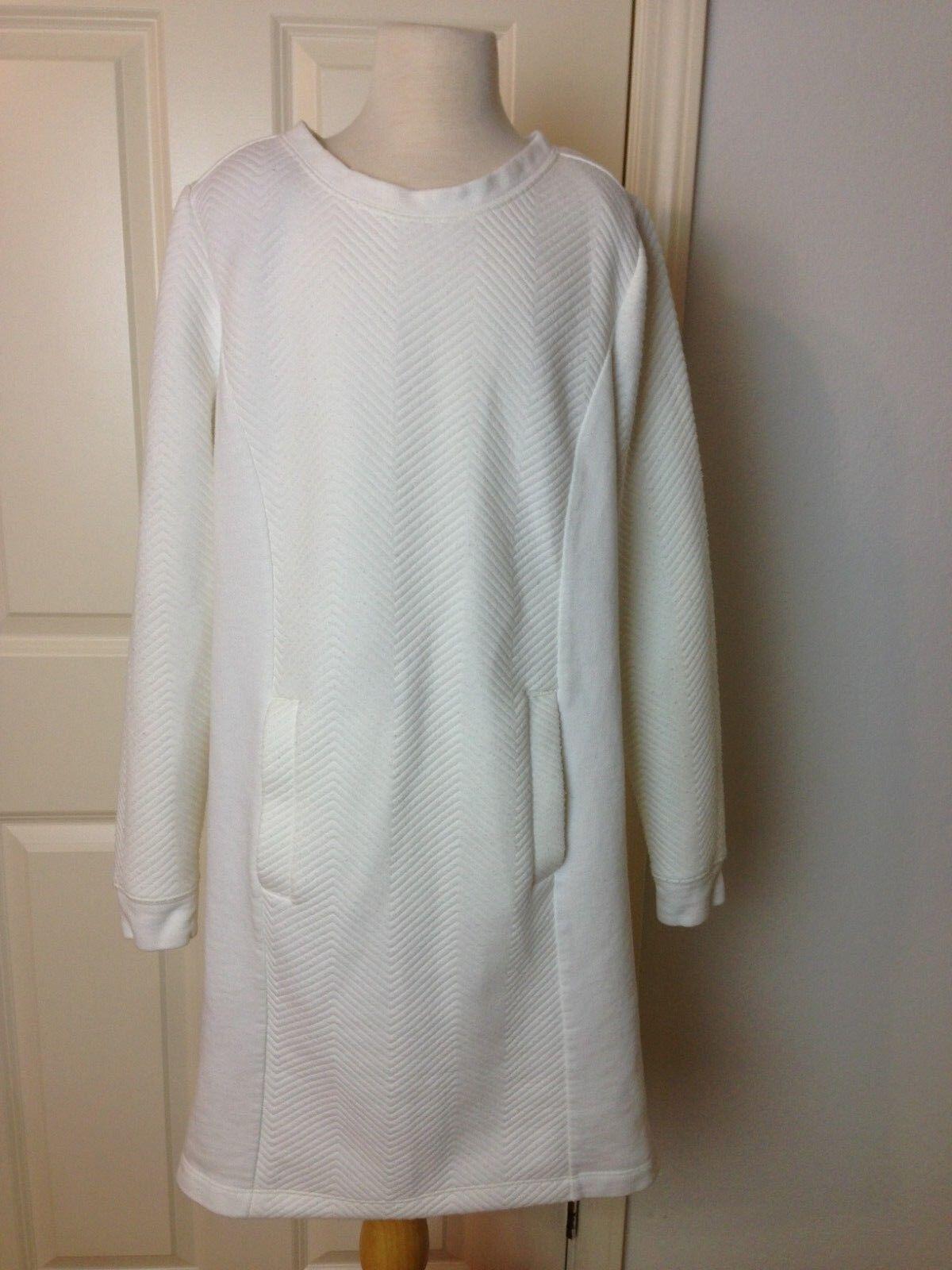 Ann Taylor LOFT Quilted Herringbone Sweatshirt Dress White Long Sleeve Sz Small