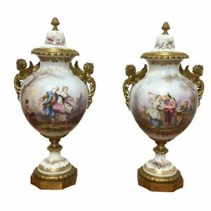 19th-Century-Pair-of-French-Porcelain-Bronze-Serves-Vases-Hand-Painted-25-034