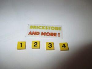 Lego - Tile 1x1 Number 1 2 3 4 Pattern 3070bp - Choose Model