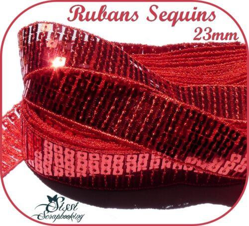 RUBAN GALON SEQUIN PAILLETTE BRILLANT ROUGE MODE SAC TROUSSE COUTURE 5 RANG