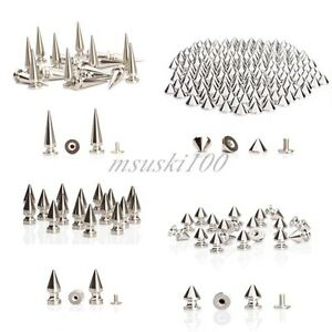 SPIKES-CONE-SCREWBACK-SILVER-METAL-BULLET-PUNK-RIVET-LEATHER-BAGS-CRAFT-HIGH-Q