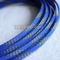 4mm~20mm Blue_Gold Tight Braided PET Expandable Sleeving Cable Wire Sheath lot